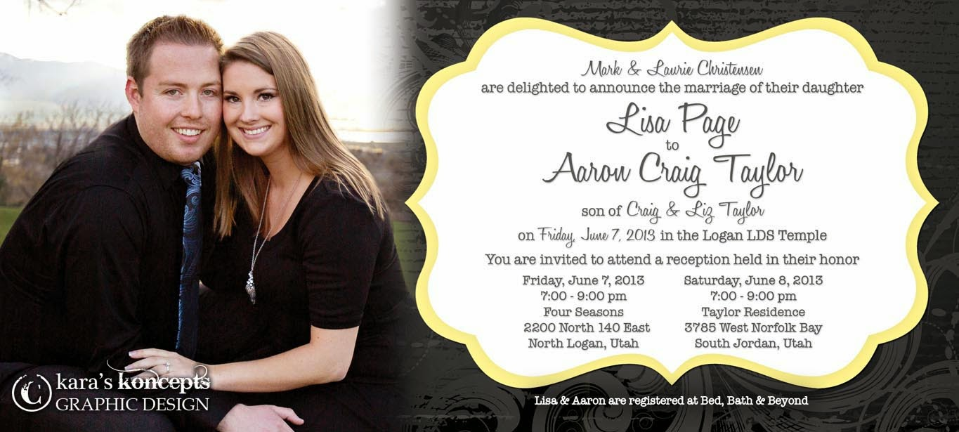 Lisa + Aaron 4x9 Photo Wedding Invite, Square Photo Inserts U0026 Thank You  Postcards. Square Inserts. Thank You Postcards. Utah Wedding Invitations ...