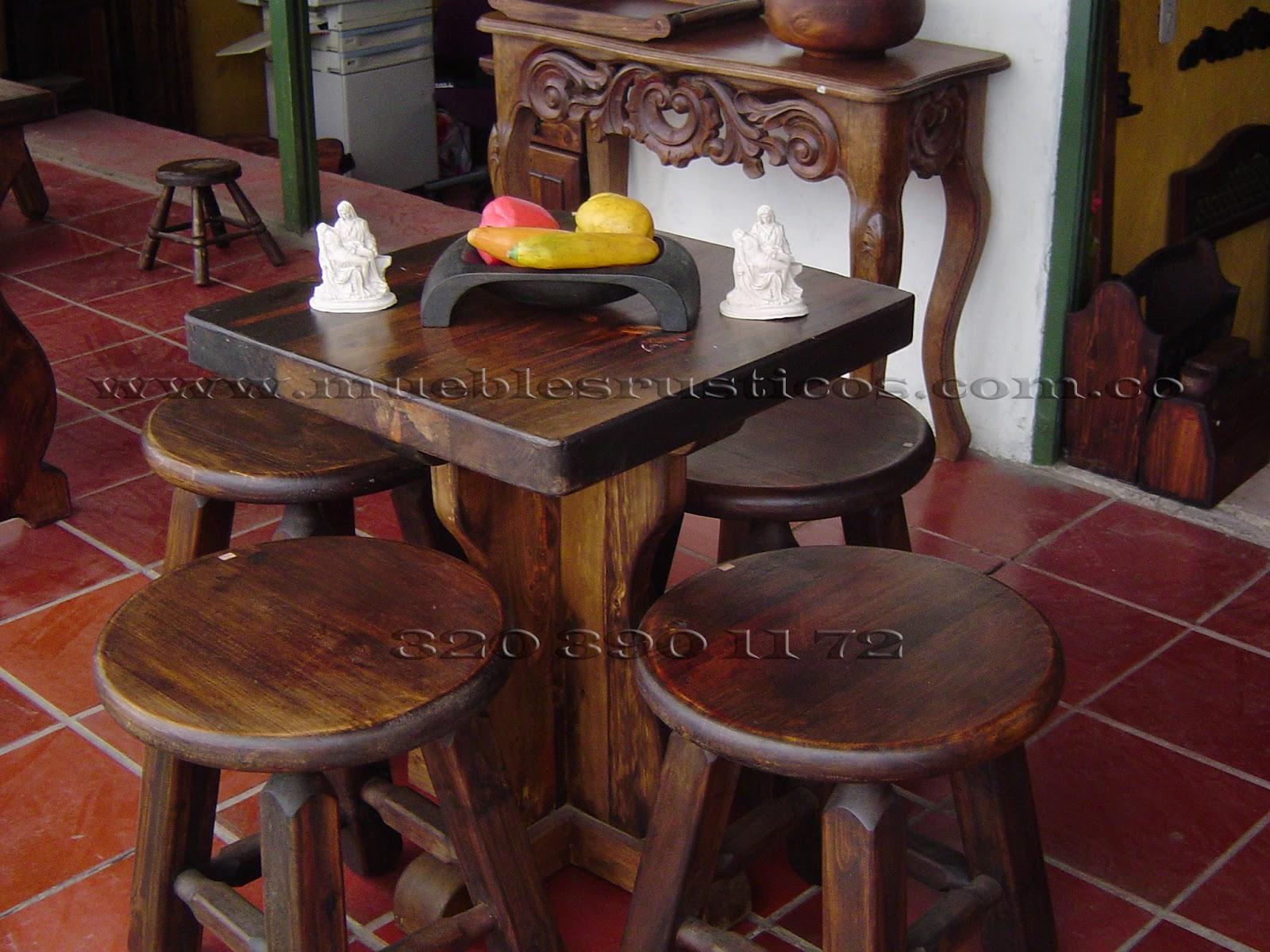Muebles rusticos bogota comedor rustico en madera for Muebles vanitorios rusticos
