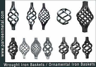 Wrought iron baskets components and ornamental iron baskets hardware for gates parts and fences manufacturers exporters in  india, usa, uk, America, UAE Dubai