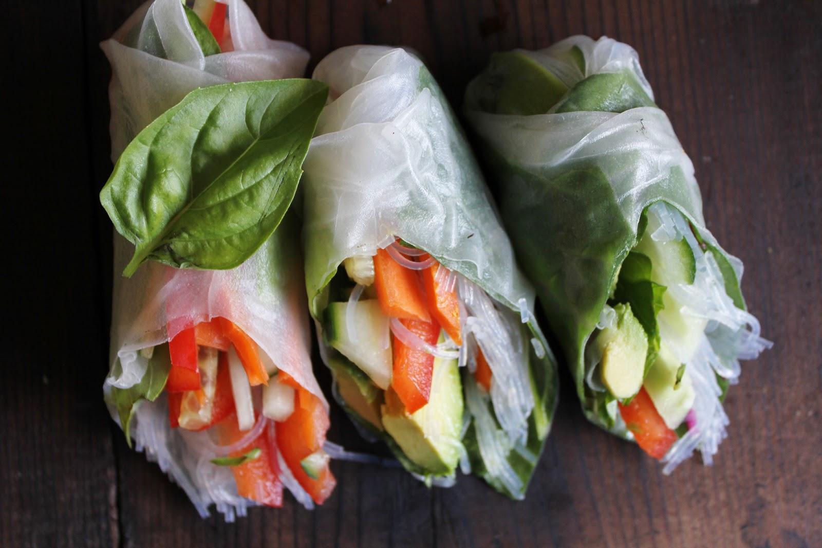 ... fresh summer rolls with basil, avocado, kale + spicy garlic peanut