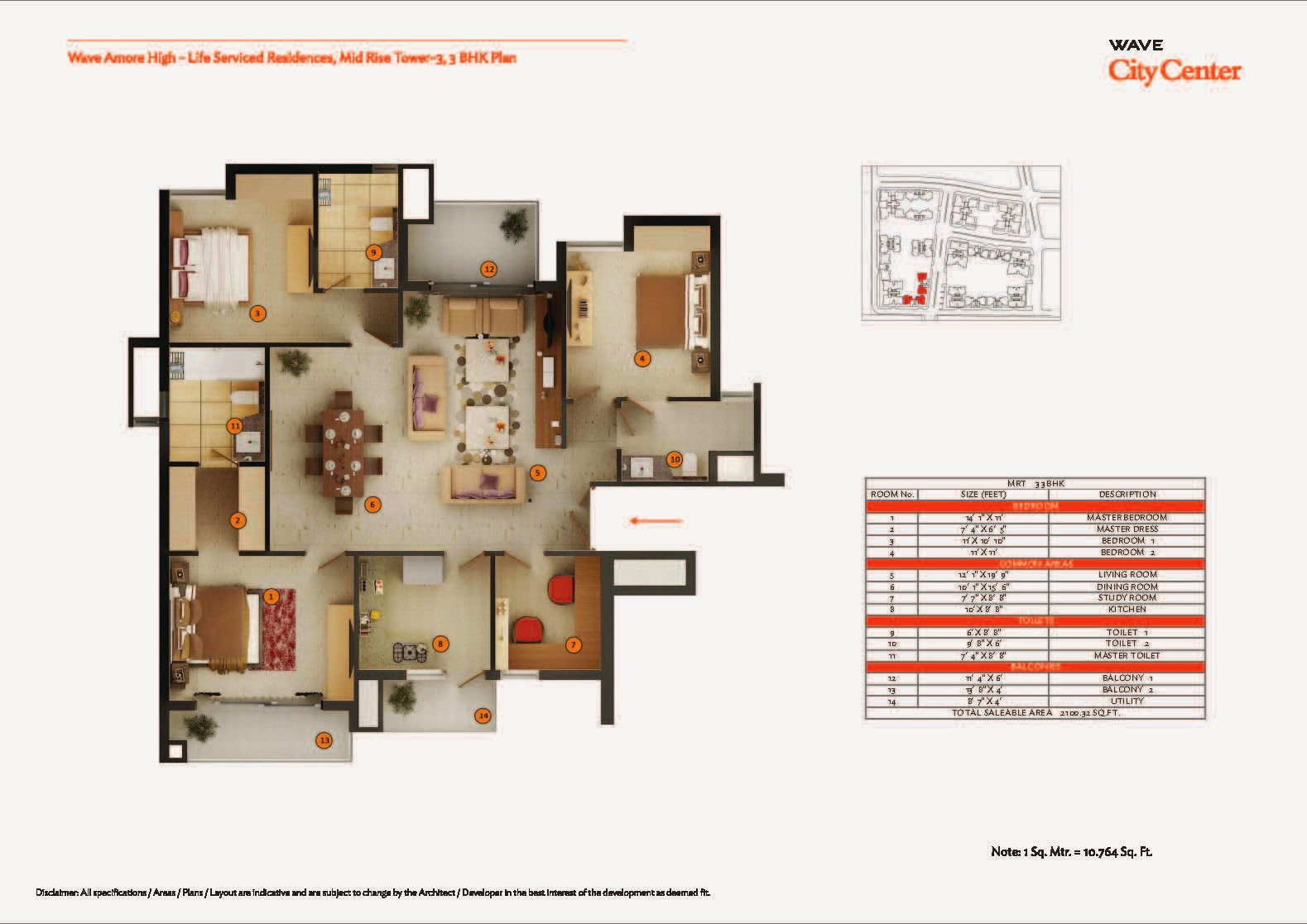 Mid Rise Tower 3,3 BHK Plan