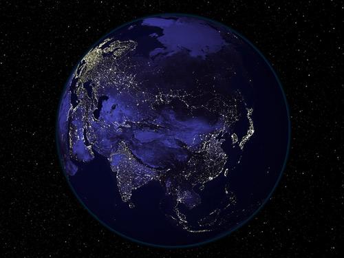 Земля из космоса ночью (7 фото) .