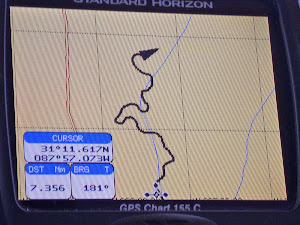 The Tombigbee River twists and winds thru AL and MS Photo of chart plotter.