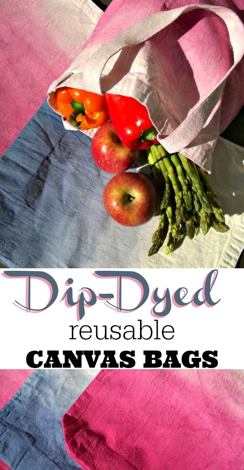 DIY Dip-Dyed Reusable Canvas Bags - reduce waste by bringing your own shopping bags to the market.