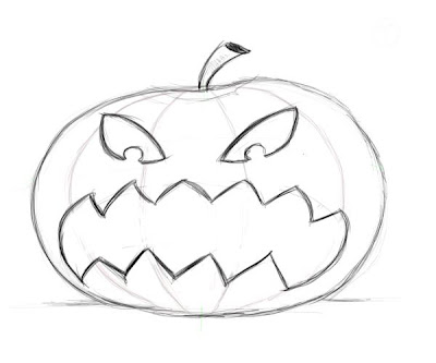 Scary Pumpkin Faces Drawing