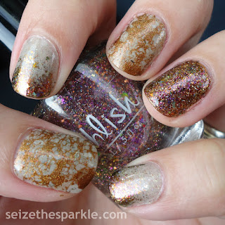 Water Spotting Glitter Gradient Skittle Mani