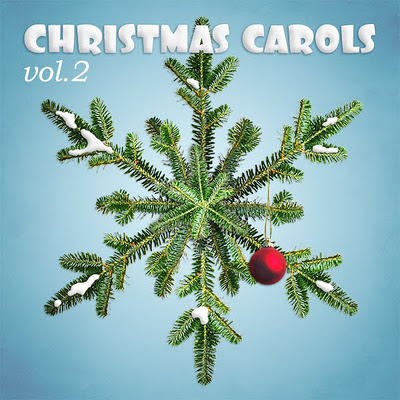 Christmas music cover with a snowflake made of pine branches
