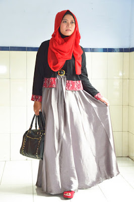 Model Rok Panjang Muslimah Bahan Satin Murah