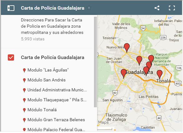 Carta de Policia GDL en el Mapa