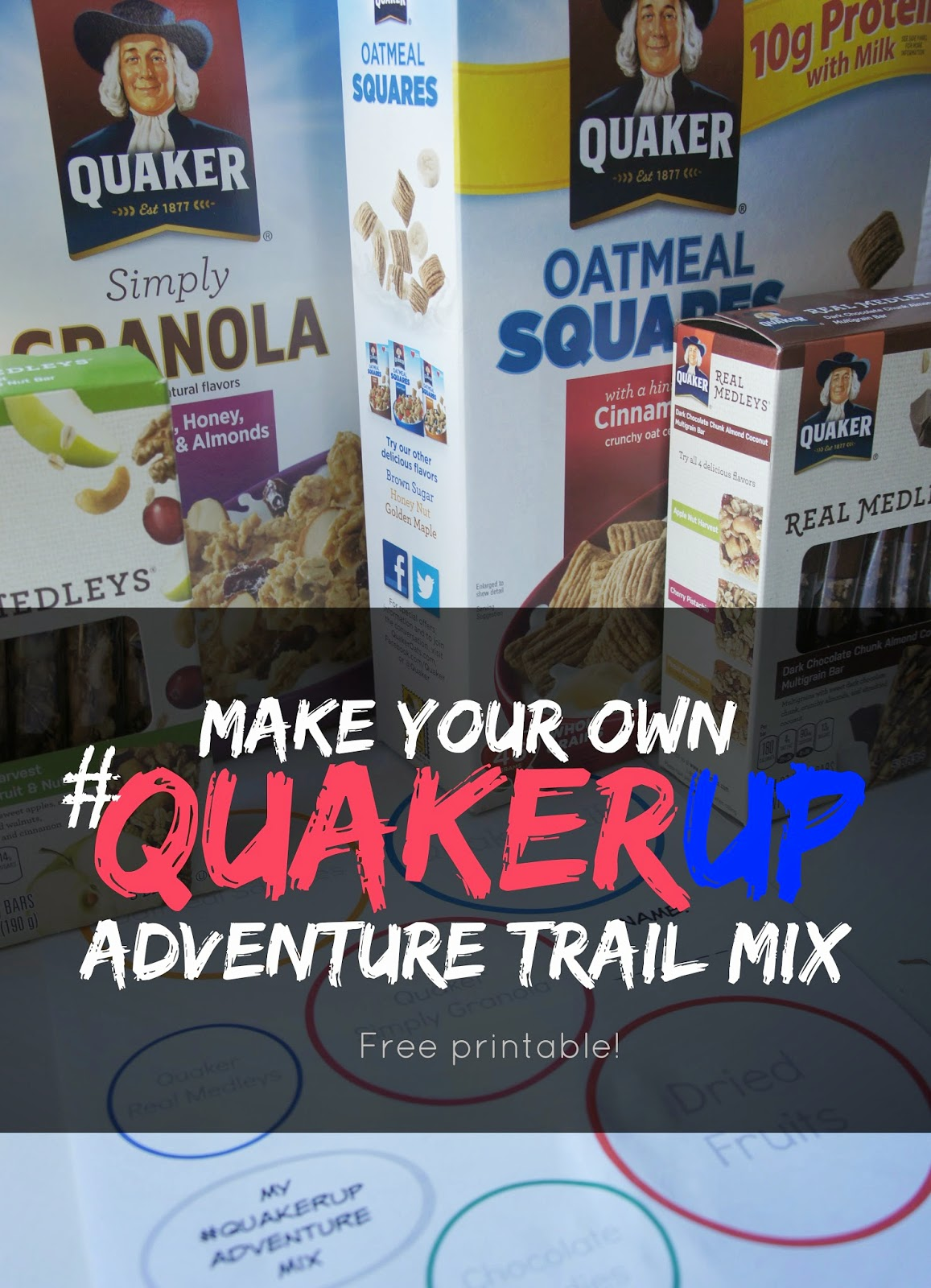 QuakerUp trail mix made with Quaker Life Cereal, Squares, Granola and Real Medleys Bars