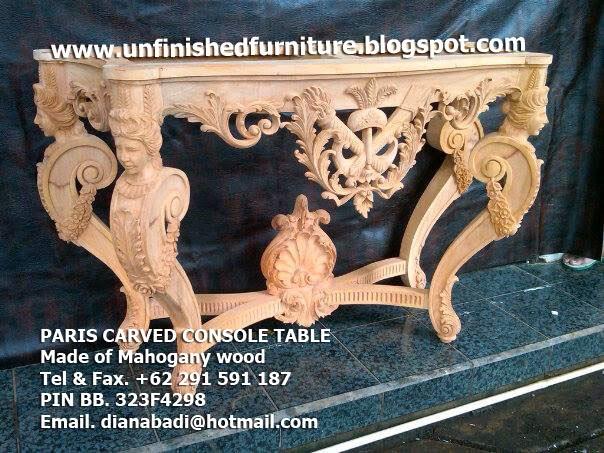 Supplier mebel klasik mentah unfinished, supplier furniture klasik mewah ukir mahoni, meja konsole ukir jepara, meja konsole jepara, supplier indonesia meja konsole klasik jepara