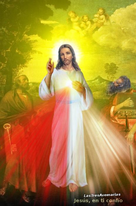 jesus divina misericordia y apostoles pedro y pablo ambos santos