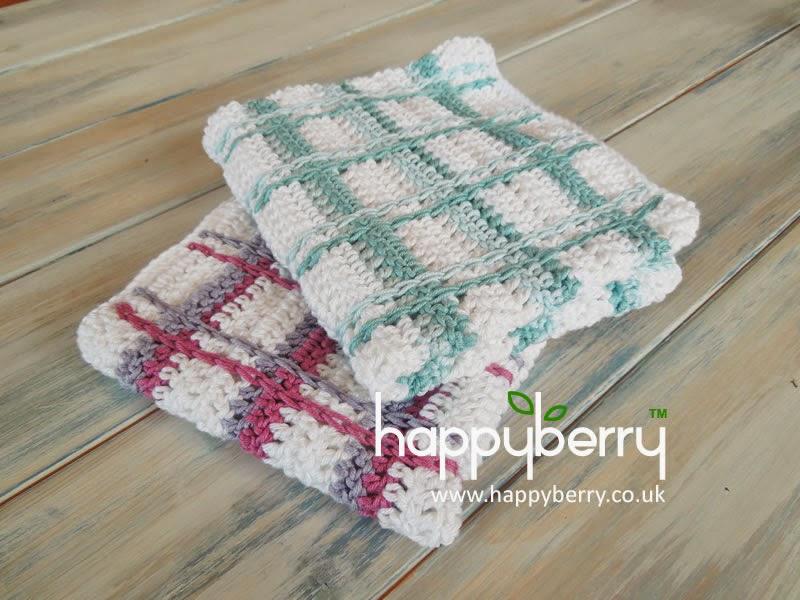 Happy Berry Crochet How To Crochet Tartan Plaid Wash Cloths