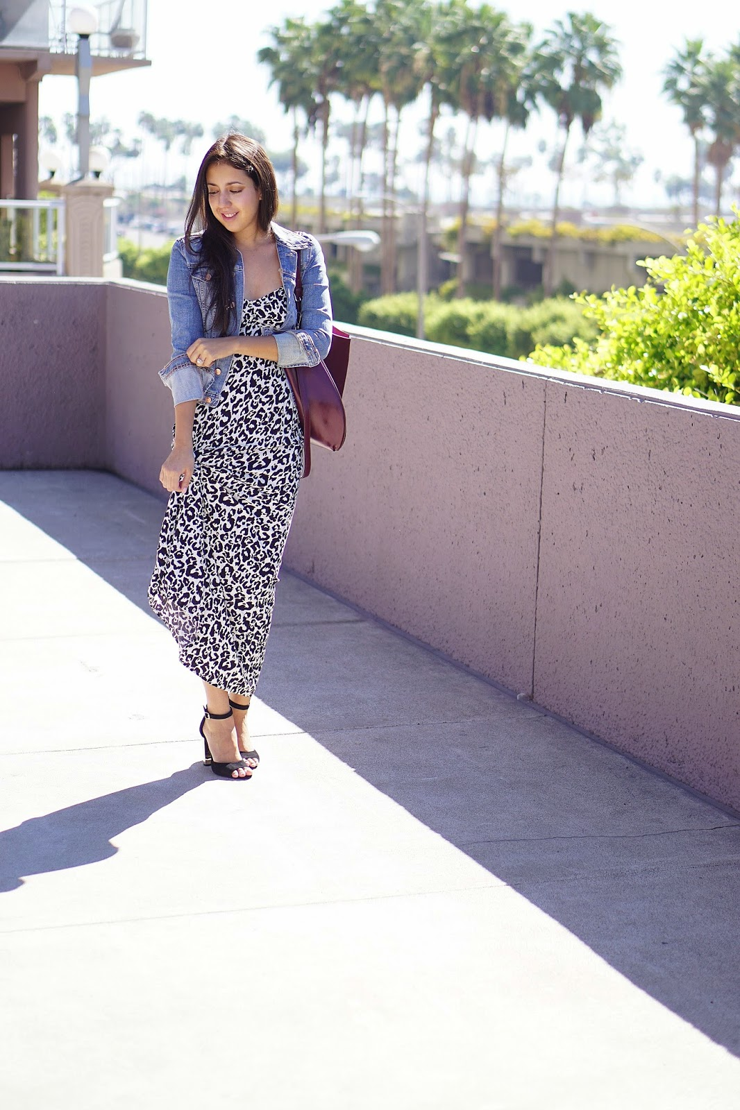 Chilli Beans Sunglasses, Levis Denim Jacket, Leopard Maxi Dress, Shoemint Penny Heels, Shoemint Heels, TJ Maxx Purse, Jean Jacket, Black Heels, H&M Maxi Dress, Burgundy Purse, Fall Outfit Ideas,