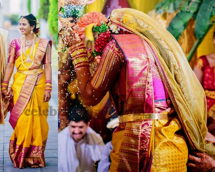 Yellow Pink Bridal Attire Saree