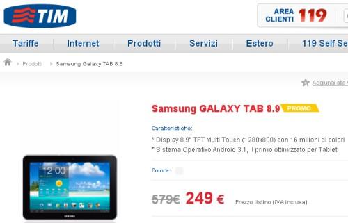 Tim offre a 249 euro il Samsung Galaxy Tab 8.9