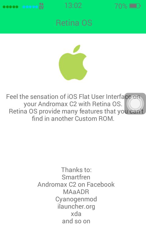 [CUSTOM ROM] Retina OS (iPhone 7) untuk Smartfren Andromax C2 OLD (AD688G)