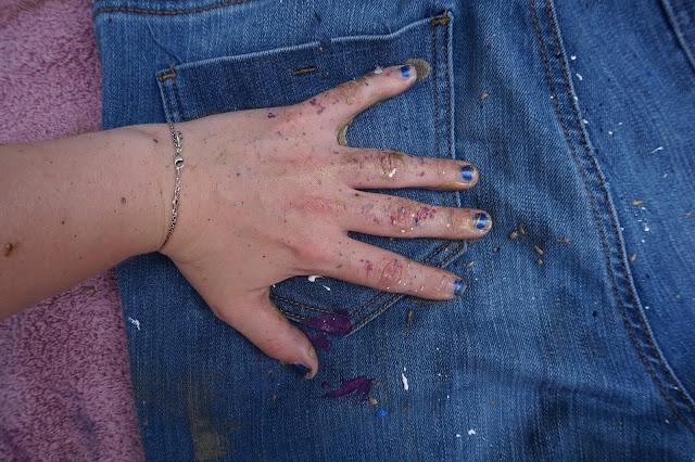 diy paint splattered jeans