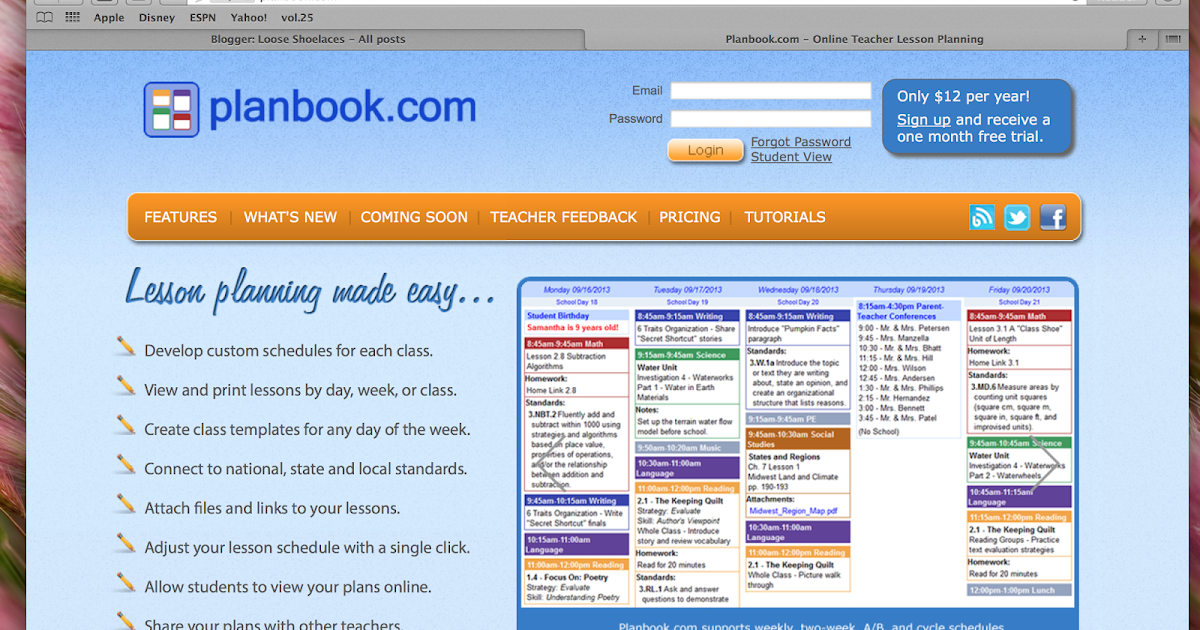 Loose shoelaces online lesson planner for Free planbook