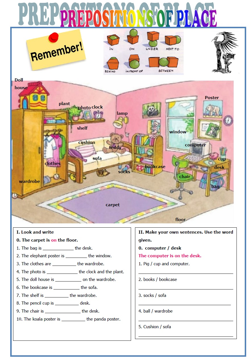 Math Worksheet English Exercises Prepositions Of Place Location ...