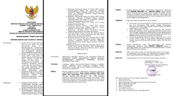 Surat Pembekuan PSSI oleh Menpora