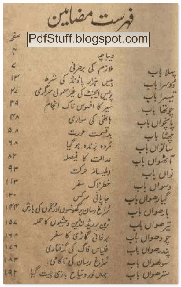 Contents of Urdu Book Dunya Kay Gird Assi Din
