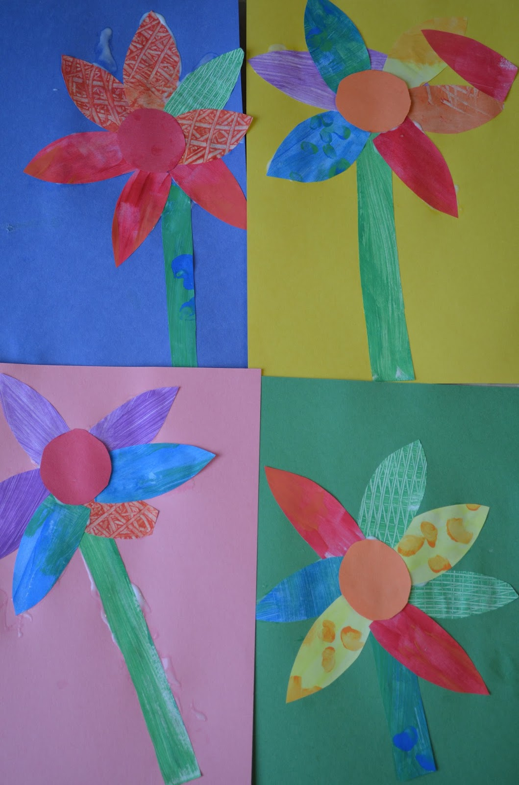 Tot treasures making flowers with painted paper for Painted paper flowers