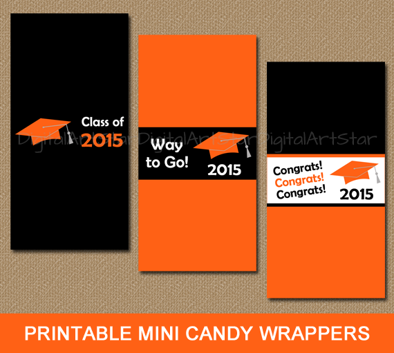 Instant graduation mini chocolate bar labels to use as party favors in orange and black