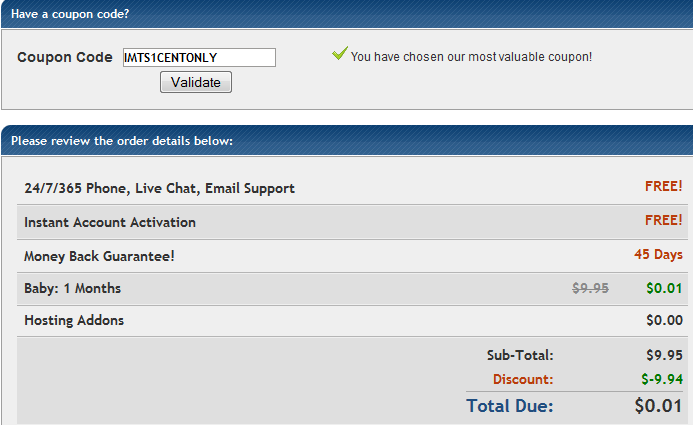 IMTS1CENTONLY Coupon for Hostgator