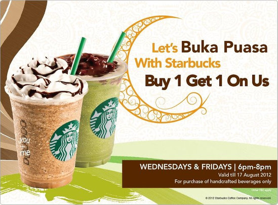 Starbucks Buy 1 Free 1 Ramadhan Promotion 2012