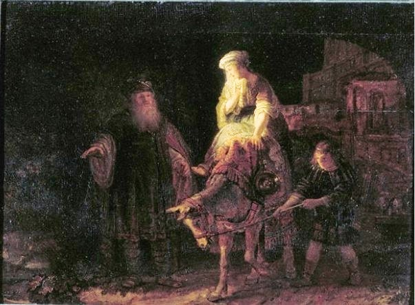 http://en.wikipedia.org/wiki/File:Rembrandt_-_The_Departure_of_the_Shunammite_Woman.1.jpg