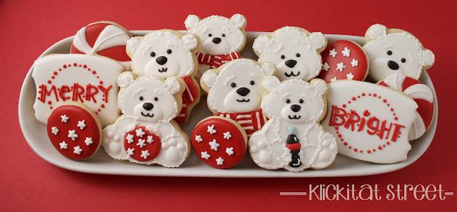 platter of decorated Christmas Coca-Cola Polar Bear Cookies