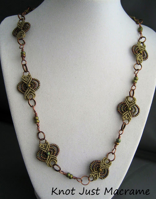 necklace made of micro macrame pieces and wire connectors