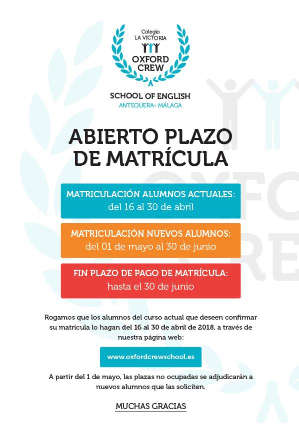 ABIERTO EL PLAZO DE MATRÍCULA