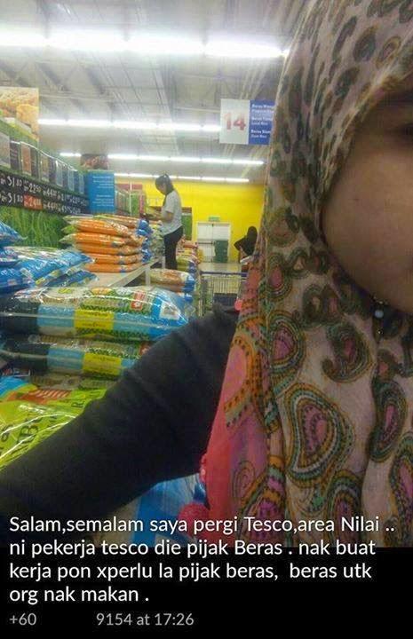 Pergi ke pasaraya Tesco Nilai membeli beras beras kena pijak Hahahaha