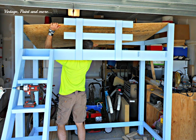 Vintage, Paint and more... building a loft bed with a slide.