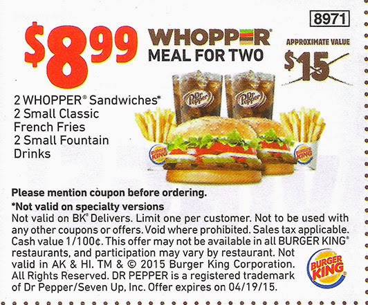 Burger king coupons online