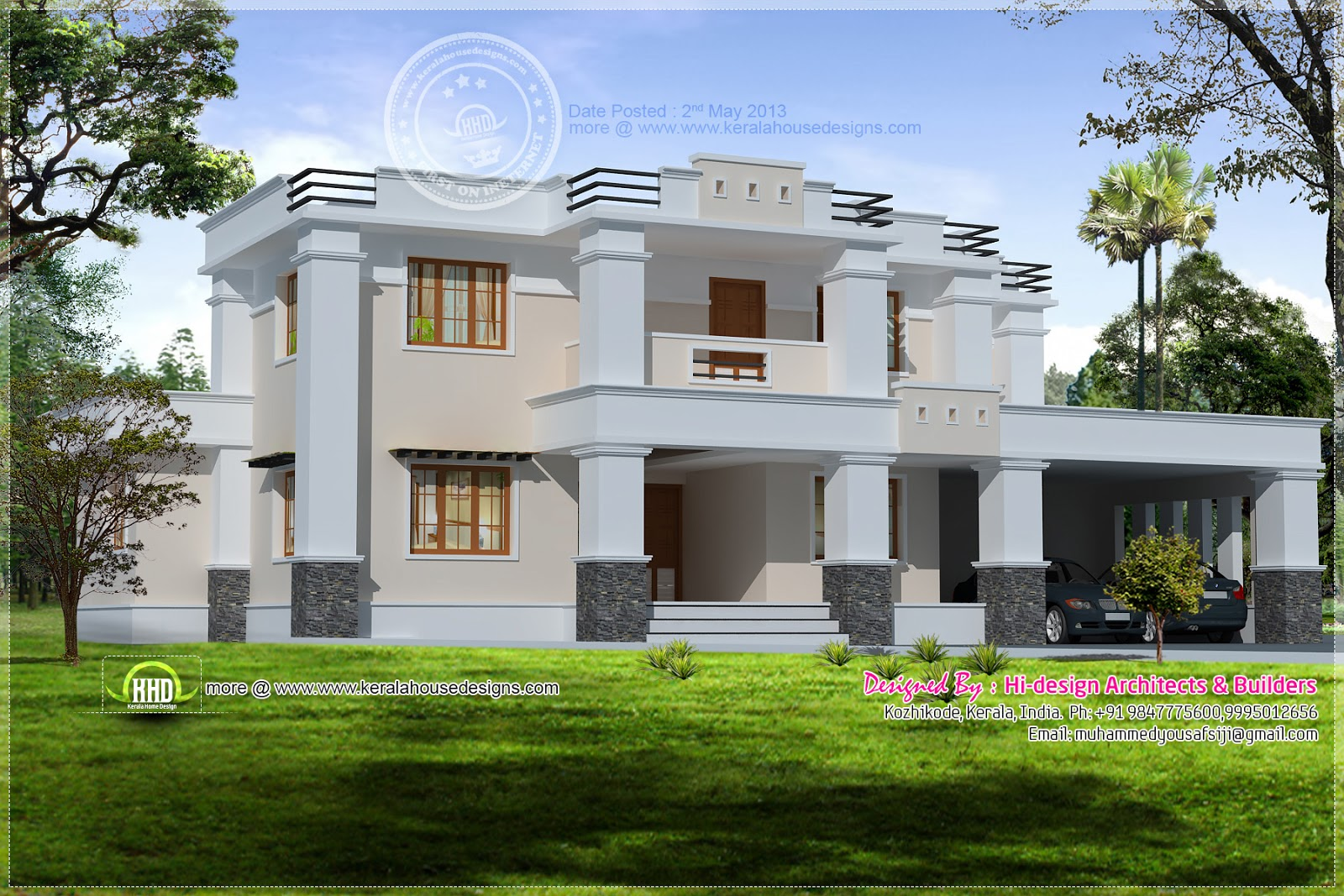 Square roof home elevation in 2400 kerala home for Flat roof elevation