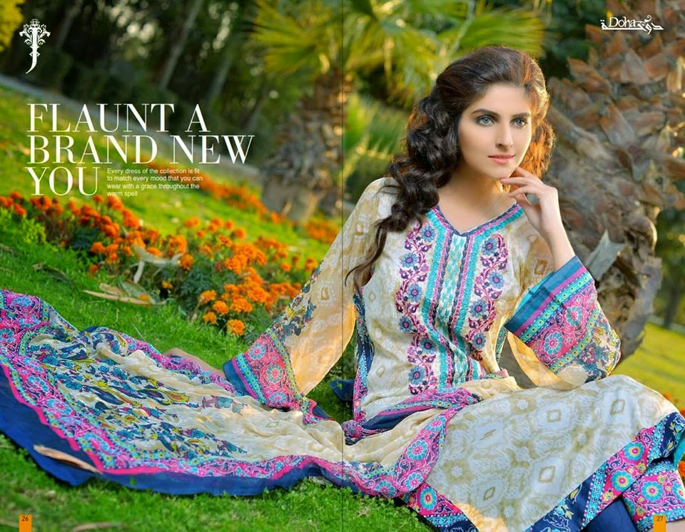 Jubilee Doha Lawn Kurti Collection 2015