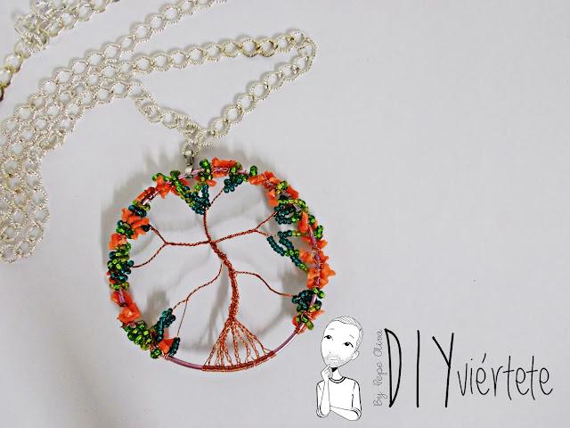 DIY-colgante-arbol de la vida- coral-pedreria-canutillos-alambre-bisuteria-7