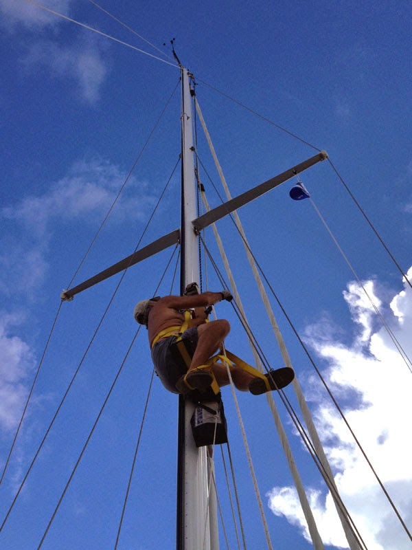 Ralph climbing Whispering Jesse's mast with the ATN Mastclimber