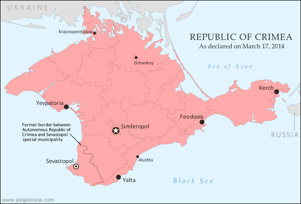 Map of the newly declared independent Republic of Crimea, seceding from Ukraine to join Russia (colorblind accessible).
