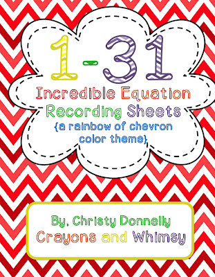 Crayons and Whimsy Incredible Equations chevron math kindergarten