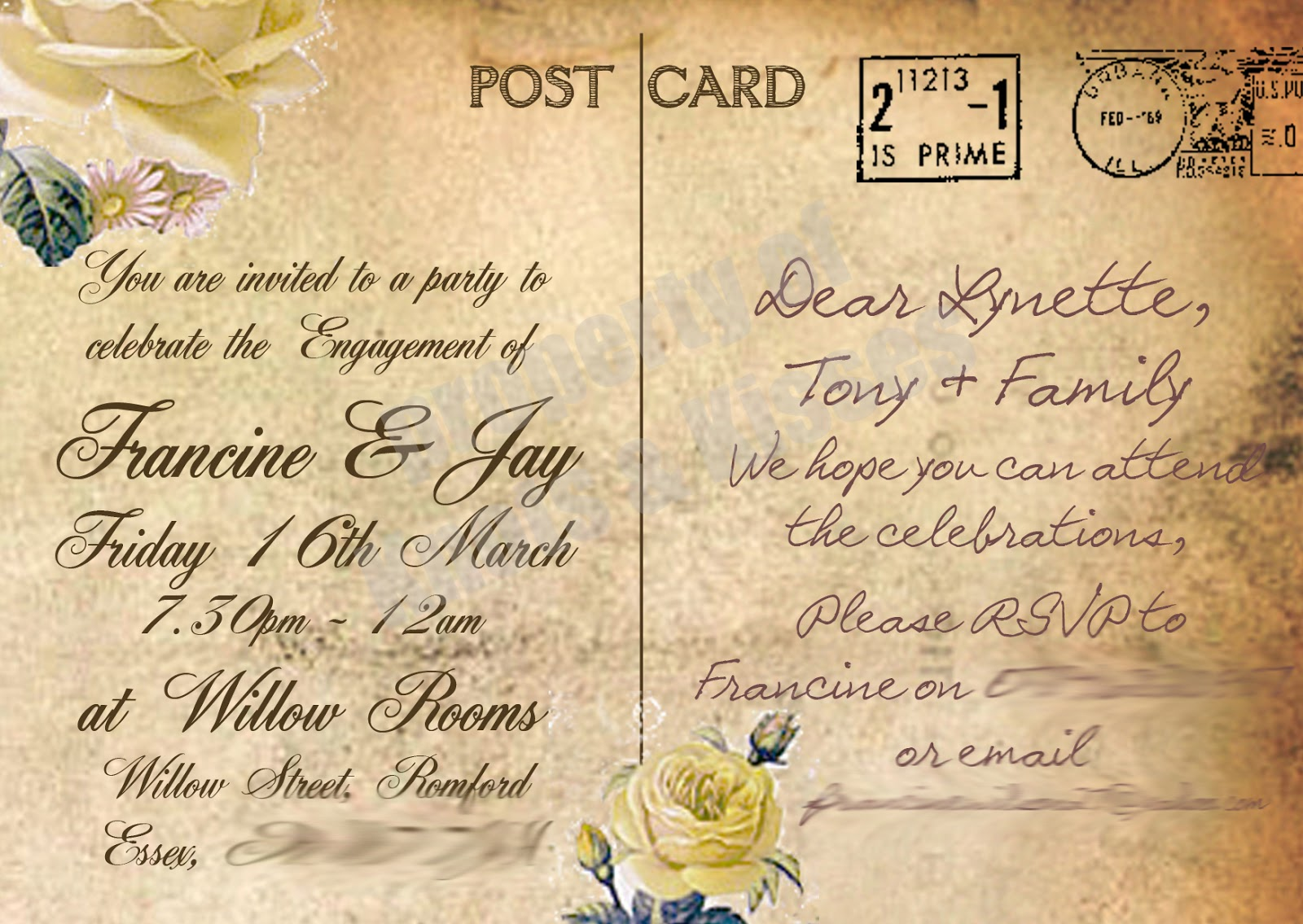 Knots and Kisses Wedding Stationery: Vintage Postcard Style Save The ...