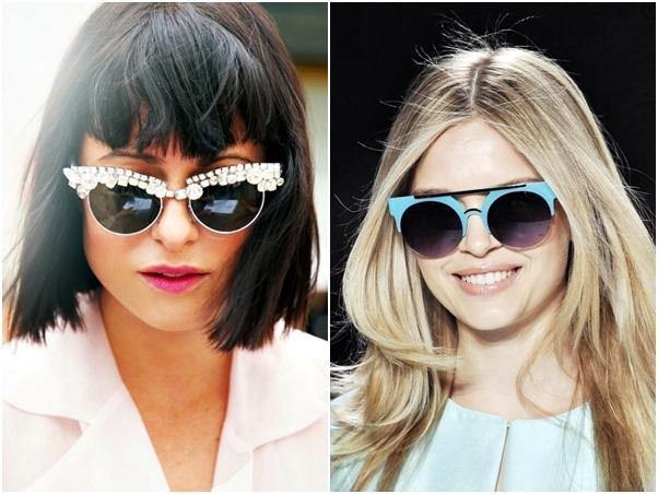 Óculos Diferentes Tendência Pedraria Azul Verão