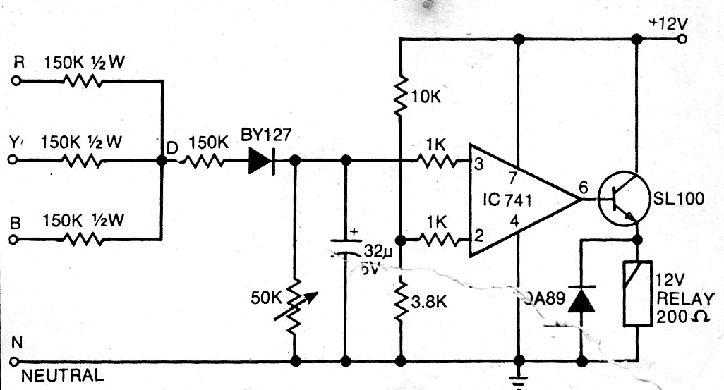 Simplest Single Phase Preventor Circuit For Three Phase Motor Potection Electricalcorecircuits