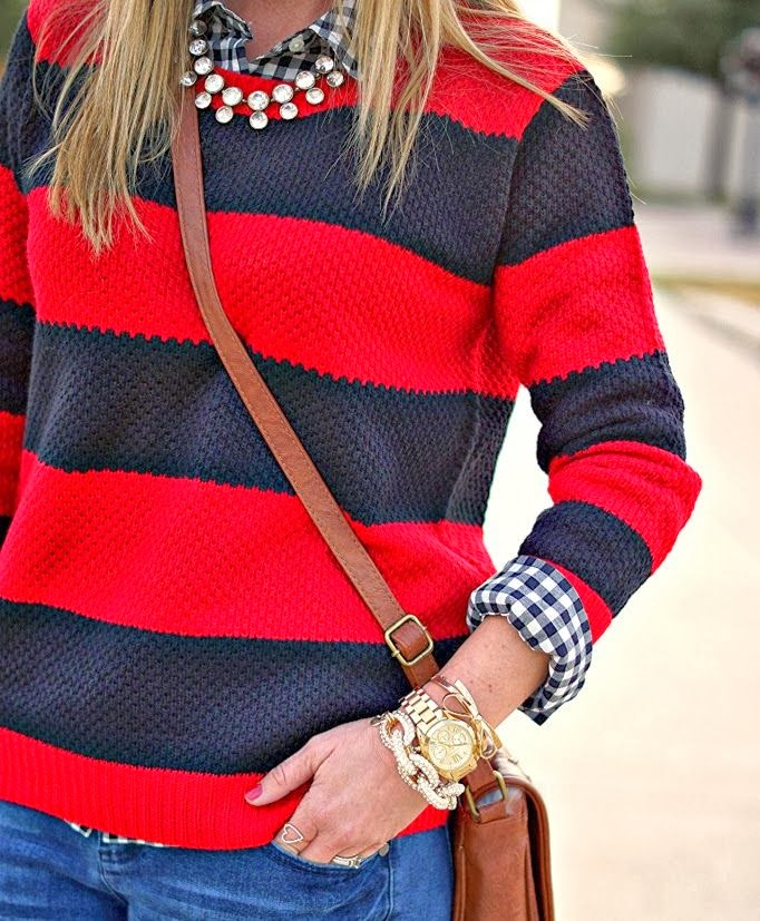 Stripes & gingham pattern mixing