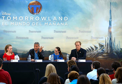 Britt Robertson, George Clooney, Raffey Cassidy and Brad Bird - Tomorrowland Valencia