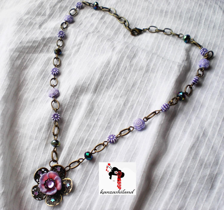Victorian floral necklace handmade kanzashiland