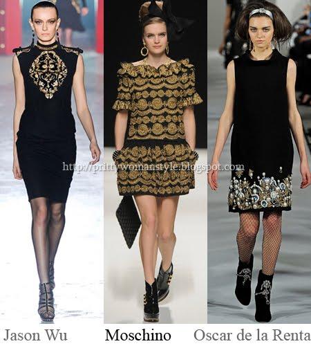 черни рокли със златни орнаменти
